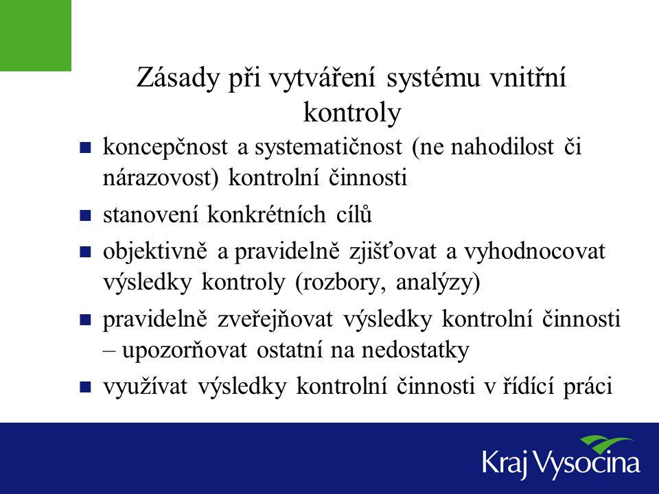 Zásady při vytváření systému vnitřní kontroly  koncepčnost a systematičnost (ne nahodilost či nárazovost) kontrolní činnosti  stanovení konkrétních