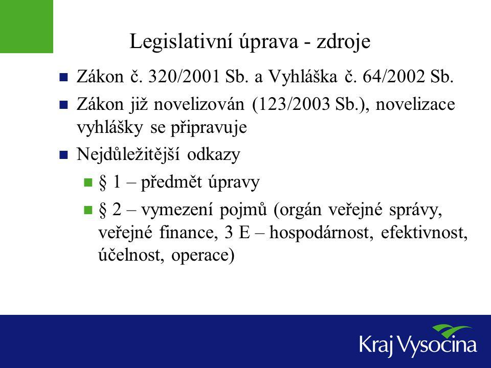 Legislativní úprava - zdroje  Zákon č. 320/2001 Sb. a Vyhláška č. 64/2002 Sb.  Zákon již novelizován (123/2003 Sb.), novelizace vyhlášky se připravu