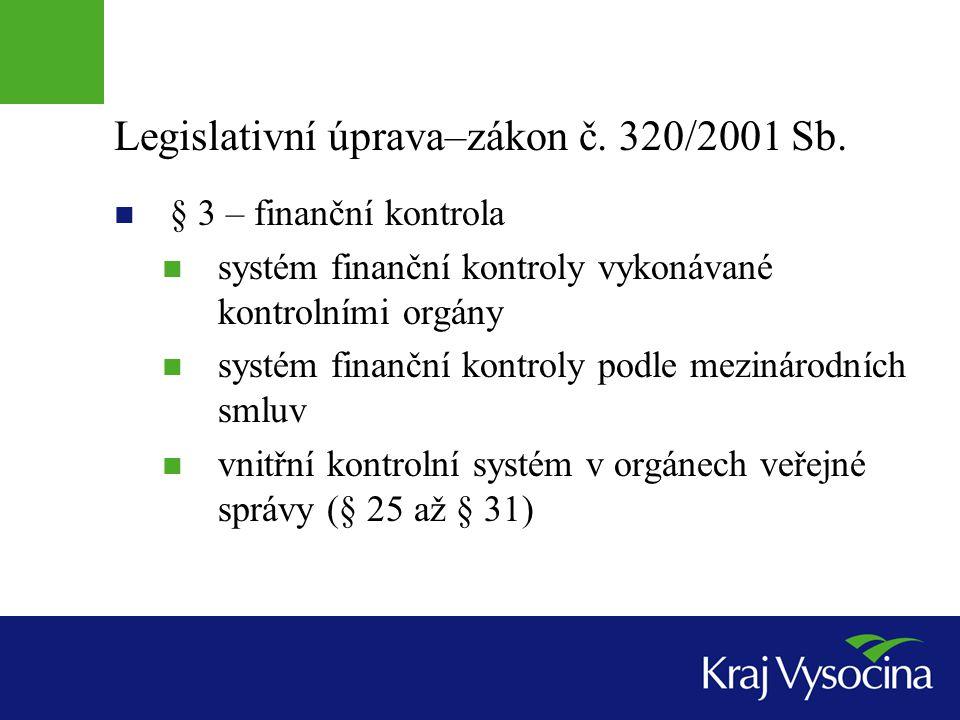Legislativní úprava–zákon č. 320/2001 Sb.  § 3 – finanční kontrola  systém finanční kontroly vykonávané kontrolními orgány  systém finanční kontrol