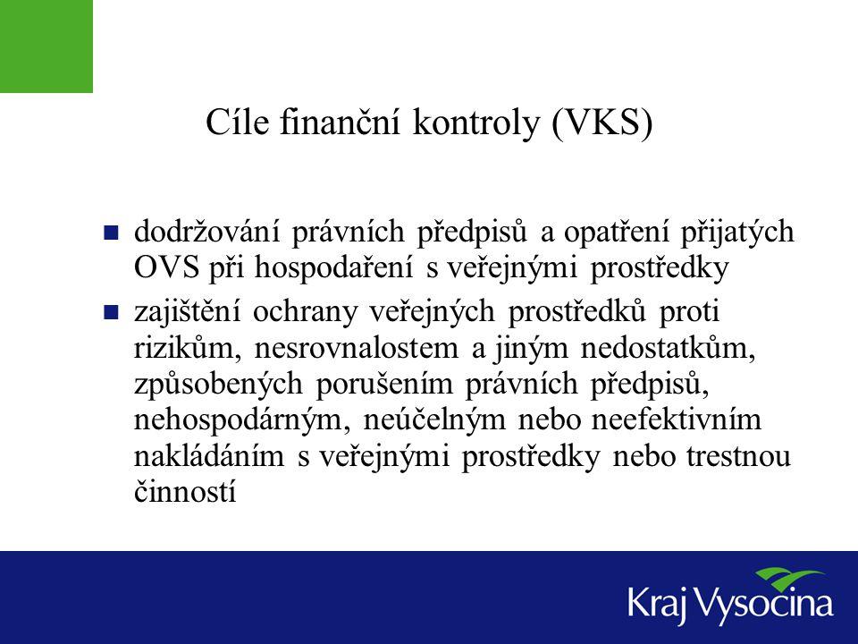 Cíle finanční kontroly (VKS)  dodržování právních předpisů a opatření přijatých OVS při hospodaření s veřejnými prostředky  zajištění ochrany veřejn