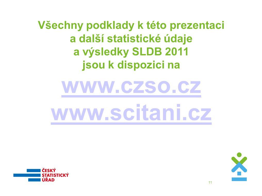 11 Všechny podklady k této prezentaci a další statistické údaje a výsledky SLDB 2011 jsou k dispozici na www.czso.cz www.scitani.cz