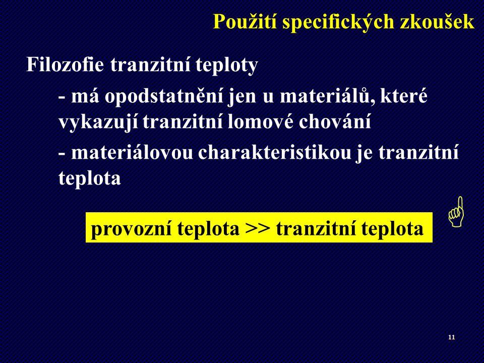11 Filozofie tranzitní teploty - má opodstatnění jen u materiálů, které vykazují tranzitní lomové chování - materiálovou charakteristikou je tranzitní