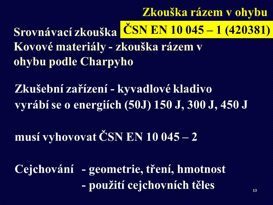13 Zkušební zařízení - kyvadlové kladivo vyrábí se o energiích (50J) 150 J, 300 J, 450 J musí vyhovovat ČSN EN 10 045 – 2 Cejchování - geometrie, třen