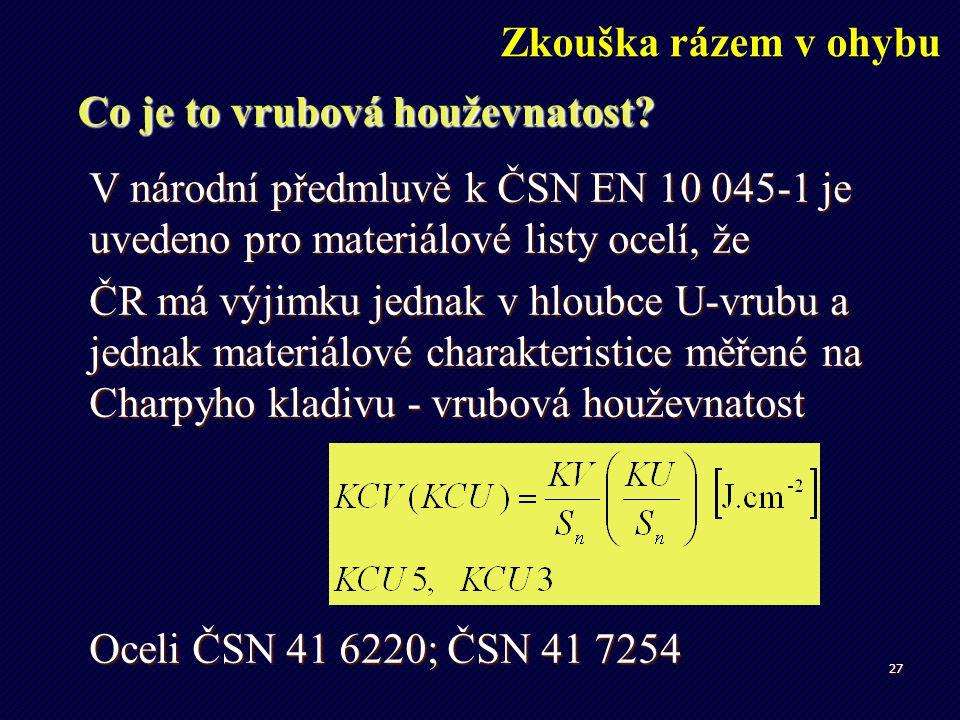 27 Co je to vrubová houževnatost? V národní předmluvě k ČSN EN 10 045-1 je uvedeno pro materiálové listy ocelí, že ČR má výjimku jednak v hloubce U-vr