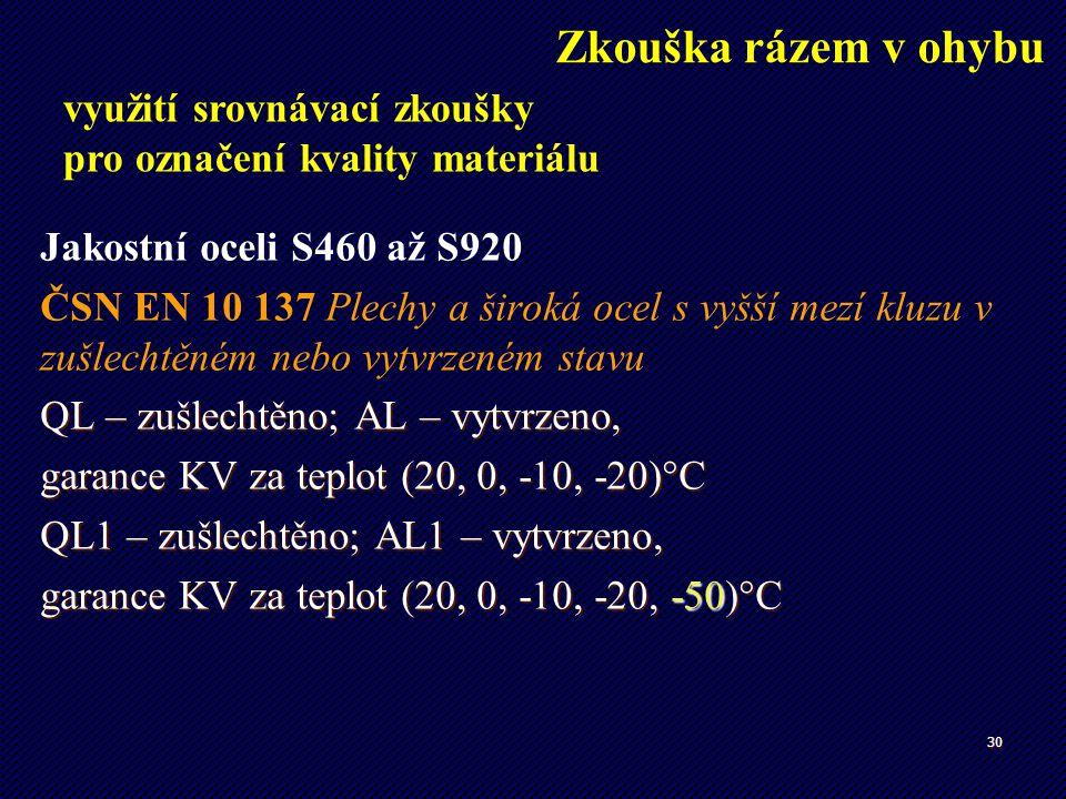 30 Jakostní oceli S460 až S920 ČSN EN 10 137 Plechy a široká ocel s vyšší mezí kluzu v zušlechtěném nebo vytvrzeném stavu QL – zušlechtěno; AL – vytvr