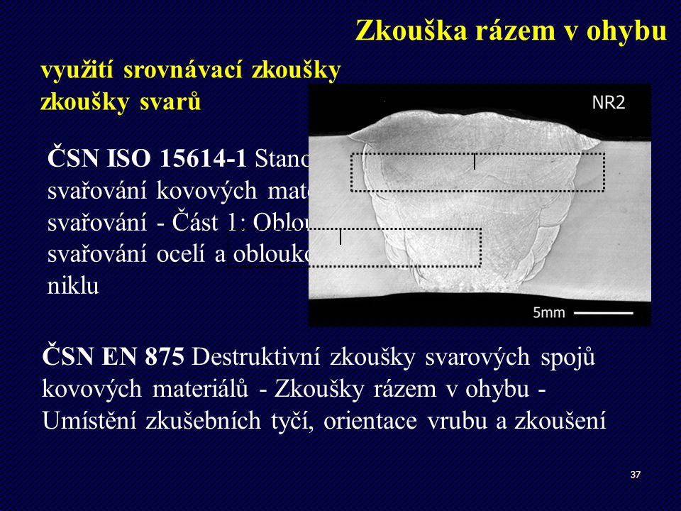 37 Zkouška rázem v ohybu využití srovnávací zkoušky zkoušky svarů ČSN EN 875 Destruktivní zkoušky svarových spojů kovových materiálů - Zkoušky rázem v