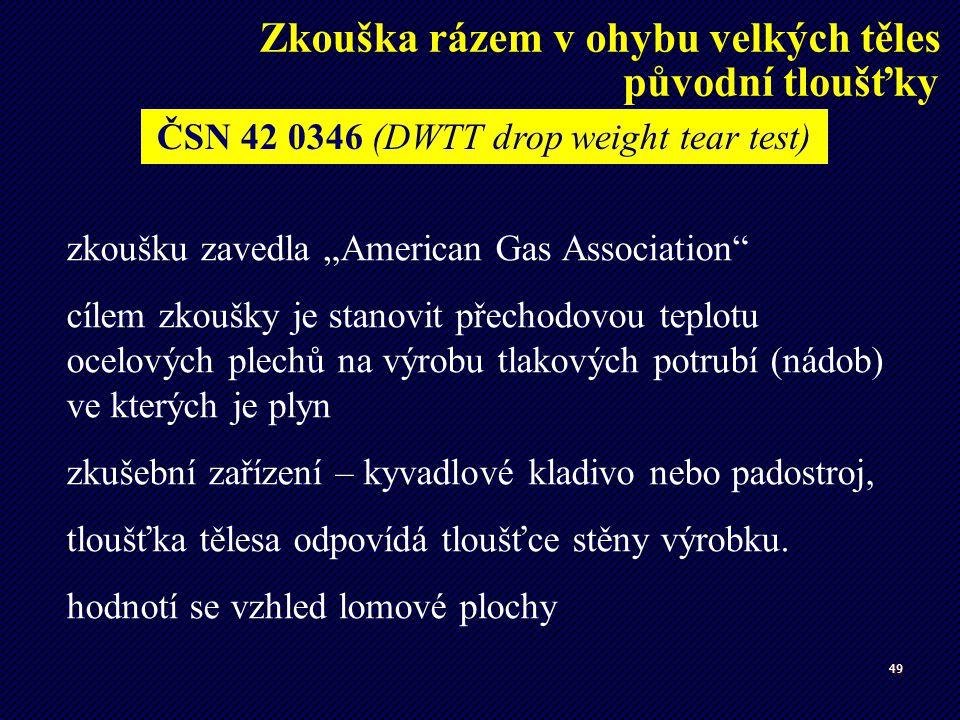 """49 zkoušku zavedla """"American Gas Association"""" cílem zkoušky je stanovit přechodovou teplotu ocelových plechů na výrobu tlakových potrubí (nádob) ve kt"""