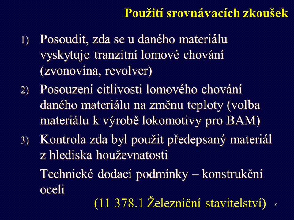 7 1) Posoudit, zda se u daného materiálu vyskytuje tranzitní lomové chování (zvonovina, revolver) 2) Posouzení citlivosti lomového chování daného mate