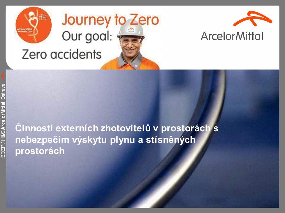 BOZP / H&S ArcelorMittal Ostrava 2 Definice prostor s nebezpečím výskytu plynu Prostor, kde v případě mimořádných situací nebo při technologických procesech může dojít ke zvýšené koncentraci škodlivých plynů v ovzduší.