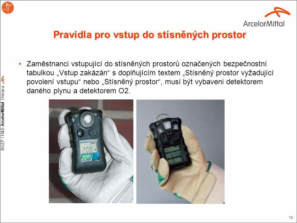 BOZP / H&S ArcelorMittal Ostrava 13 Pravidla pro vstup do stísněných prostor •Zaměstnanci vstupující do stísněných prostorů označených bezpečnostní ta