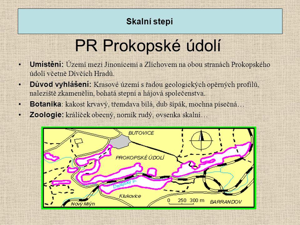 PR Prokopské údolí •Umístění: Území mezi Jinonicemi a Zlíchovem na obou stranách Prokopského údolí včetně Dívčích Hradů. •Důvod vyhlášení: Krasové úze