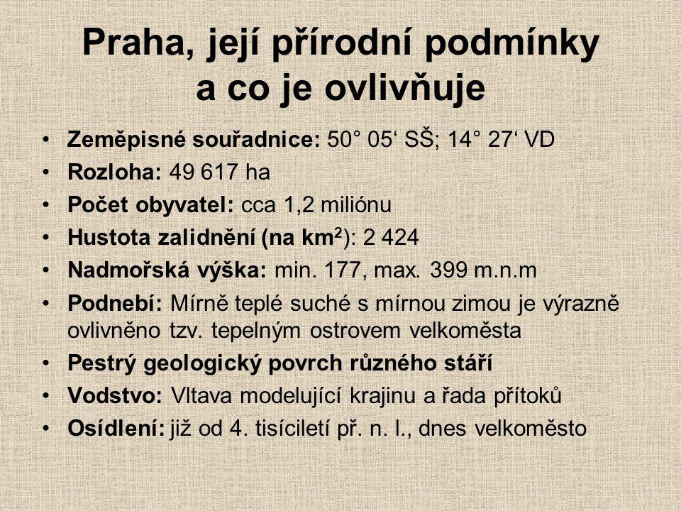 Praha, její přírodní podmínky a co je ovlivňuje •Zeměpisné souřadnice: 50° 05' SŠ; 14° 27' VD •Rozloha: 49 617 ha •Počet obyvatel: cca 1,2 miliónu •Hu