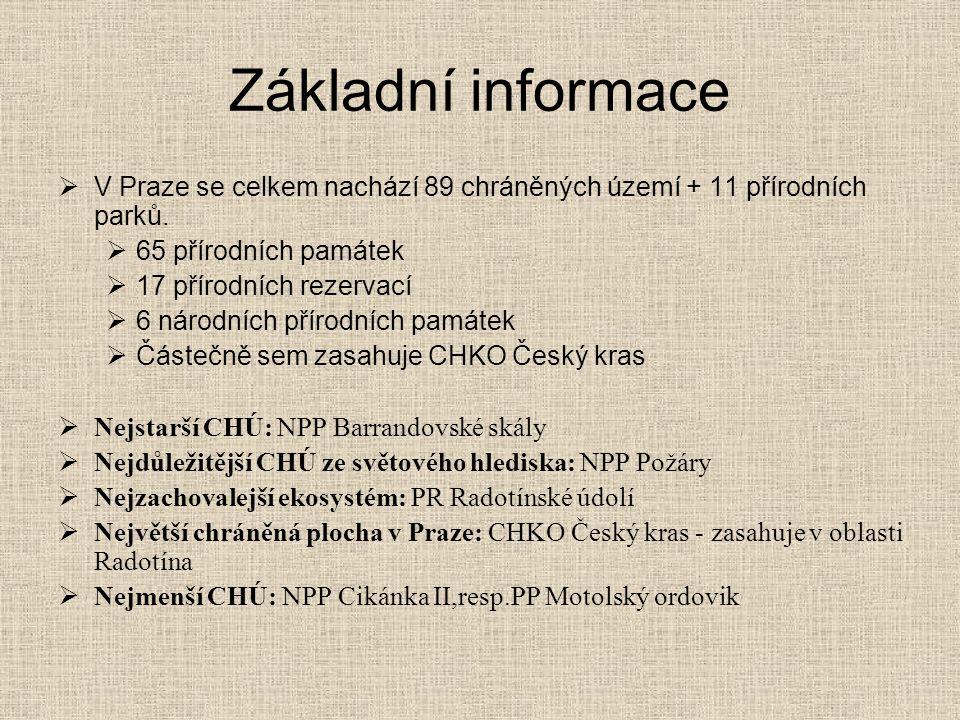 Základní informace  V Praze se celkem nachází 89 chráněných území + 11 přírodních parků.  65 přírodních památek  17 přírodních rezervací  6 národn
