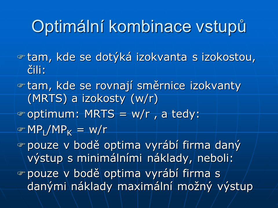 Optimální kombinace vstupů oooopět jde o analogii optima spotřebitele ffffirma je rovněž limitována svým rozpočtem rrrrozpočtové omezení je dáno finančními prostředky firmy a cenami výrobních faktorů llllinie rozpočtu firmy (izokosta) je dána: TC = w.L + r.K, kde w……mzdová sazba (cena VF práce) r…….úroková sazba (cena VF kapitálu)