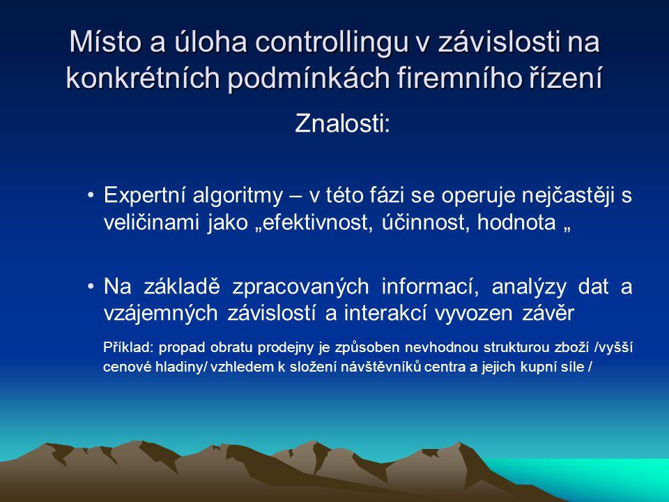 """Znalosti: •Expertní algoritmy – v této fázi se operuje nejčastěji s veličinami jako """"efektivnost, účinnost, hodnota """" •Na základě zpracovaných informa"""