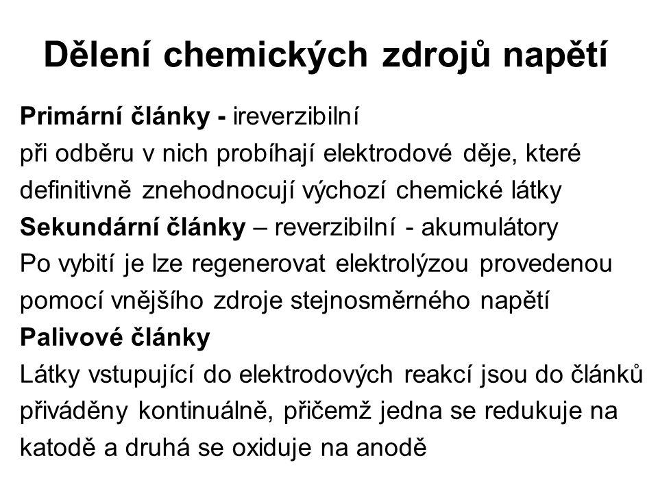 Leclancheův článek Napětí 1,5V – primární článek Anoda:zinková amalgámová Katoda:grafitová + burel (MnO 2 ) Elektrolyt:26%ní NH 4 Cl + 9%ní ZnCl 2, ztužený škrobem Katodový děj: Anodový děj