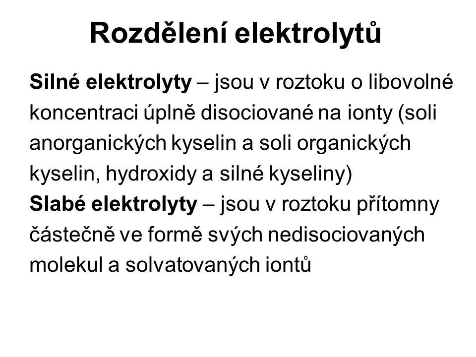Vodivost látek Je podmíněna existencí volně pohyblivých iontů – iontová vodivost Elektrický proud v elektrolytu je spojen s přenosem iontů směrem k elektrodám Anoda – kladná elektroda Katoda – záporná elektroda