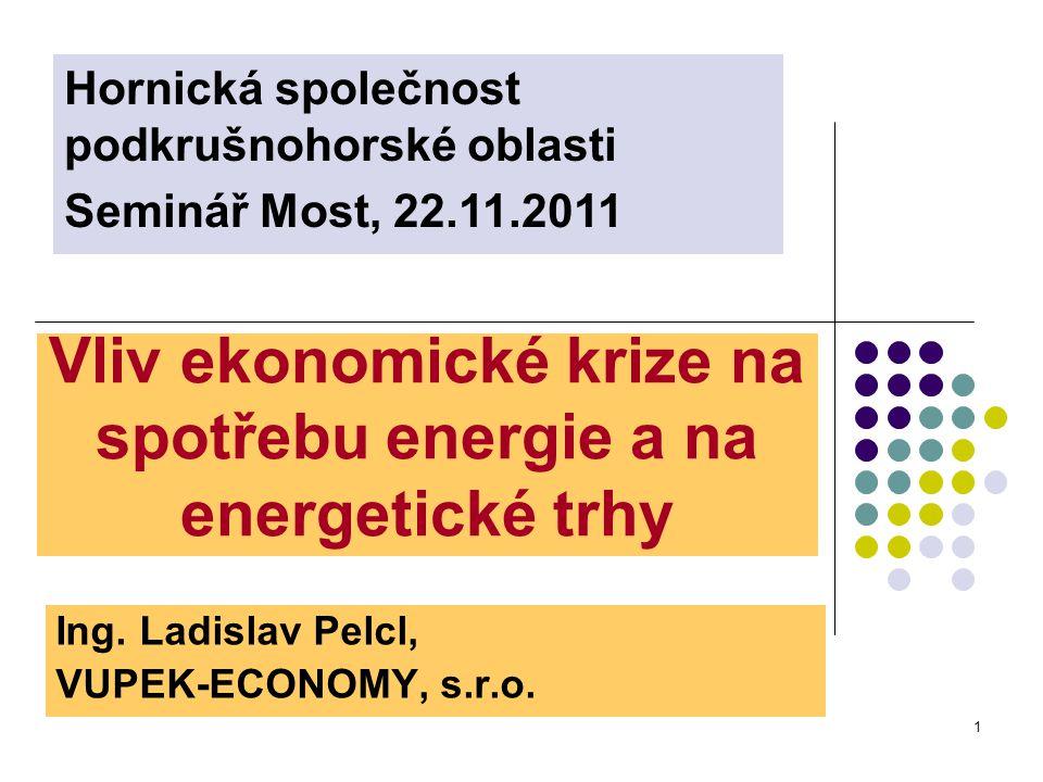 1 Vliv ekonomické krize na spotřebu energie a na energetické trhy Ing.