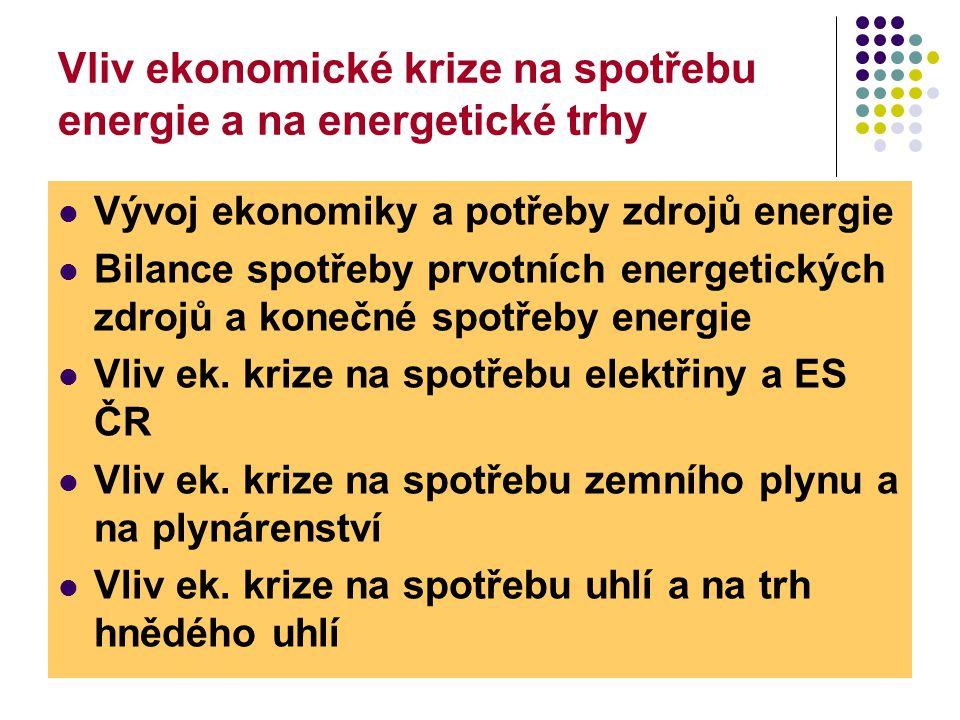 2 Vliv ekonomické krize na spotřebu energie a na energetické trhy  Vývoj ekonomiky a potřeby zdrojů energie  Bilance spotřeby prvotních energetických zdrojů a konečné spotřeby energie  Vliv ek.