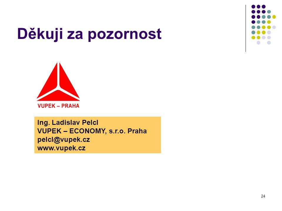 24 Děkuji za pozornost Ing. Ladislav Pelcl VUPEK – ECONOMY, s.r.o.