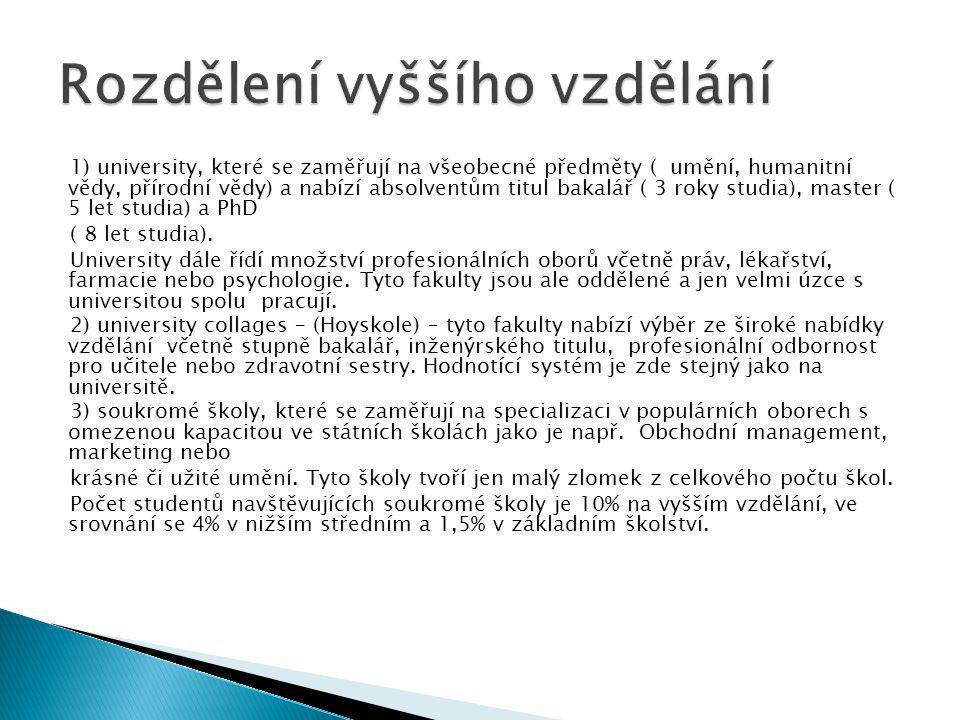 1) university, které se zaměřují na všeobecné předměty ( umění, humanitní vědy, přírodní vědy) a nabízí absolventům titul bakalář ( 3 roky studia), ma