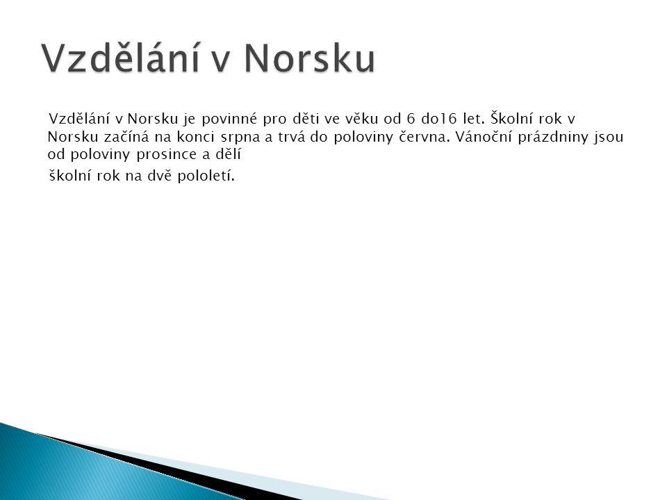 Vzdělání v Norsku je povinné pro děti ve věku od 6 do16 let. Školní rok v Norsku začíná na konci srpna a trvá do poloviny června. Vánoční prázdniny js