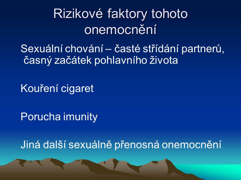 Rizikové faktory tohoto onemocnění Sexuální chování – časté střídání partnerů, časný začátek pohlavního života Kouření cigaret Porucha imunity Jiná další sexuálně přenosná onemocnění