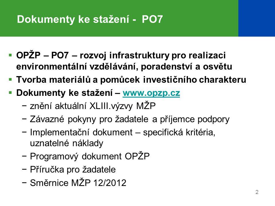 2 Dokumenty ke stažení - PO7  OPŽP – PO7 – rozvoj infrastruktury pro realizaci environmentální vzdělávání, poradenství a osvětu  Tvorba materiálů a