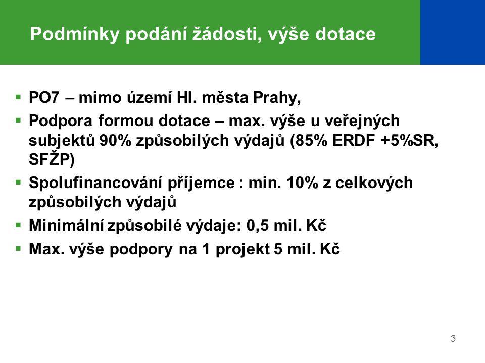 Podmínky podání žádosti, výše dotace  PO7 – mimo území Hl. města Prahy,  Podpora formou dotace – max. výše u veřejných subjektů 90% způsobilých výda