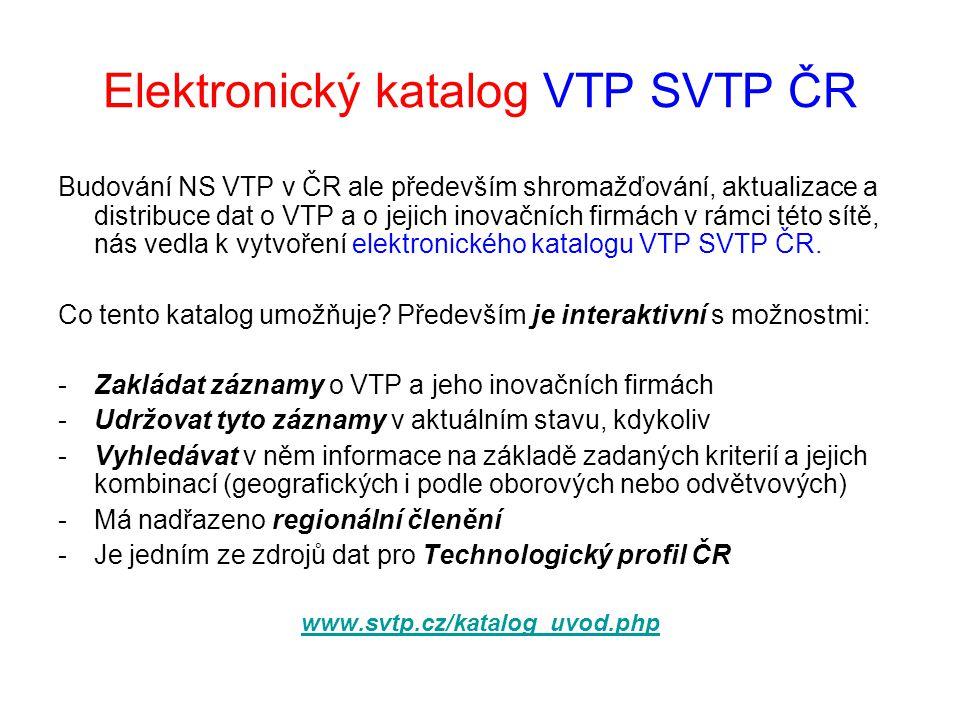 Elektronický katalog VTP SVTP ČR Budování NS VTP v ČR ale především shromažďování, aktualizace a distribuce dat o VTP a o jejich inovačních firmách v