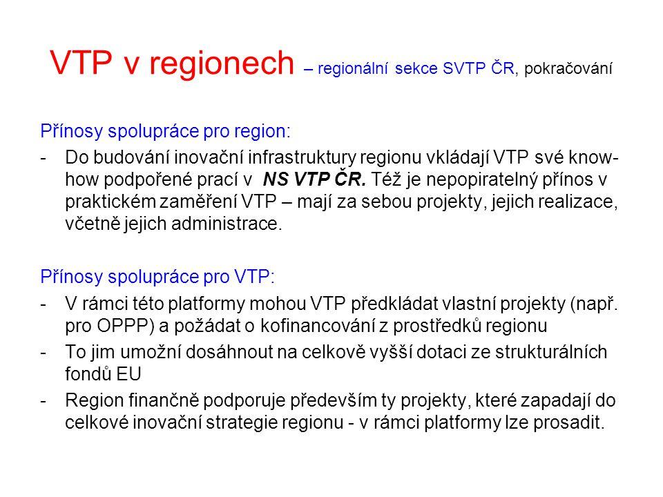 VTP v regionech – regionální sekce SVTP ČR, pokračování Přínosy spolupráce pro region: -Do budování inovační infrastruktury regionu vkládají VTP své k