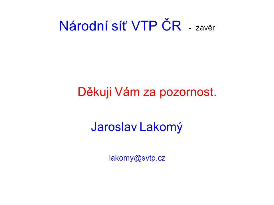 Národní síť VTP ČR - závěr Děkuji Vám za pozornost. Jaroslav Lakomý lakomy@svtp.cz