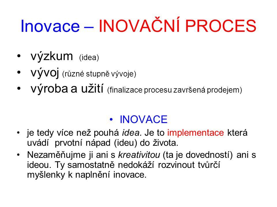 Inovace – INOVAČNÍ PROCES • výzkum (idea) • vývoj (různé stupně vývoje) • výroba a užití (finalizace procesu završená prodejem) •INOVACE •je tedy více