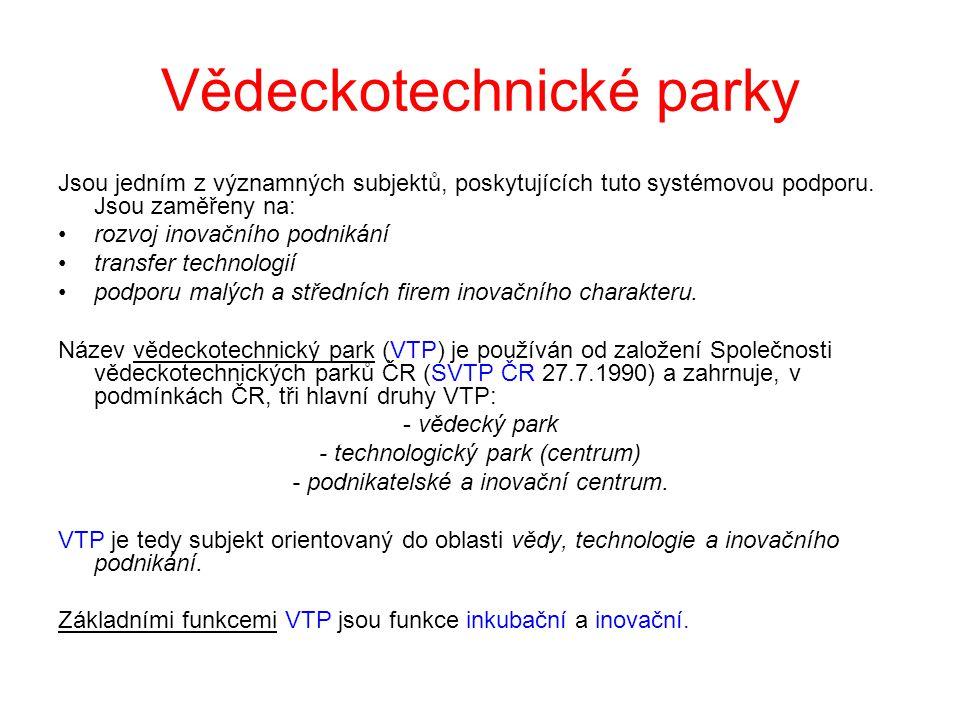 Vědeckotechnické parky Jsou jedním z významných subjektů, poskytujících tuto systémovou podporu. Jsou zaměřeny na: •rozvoj inovačního podnikání •trans