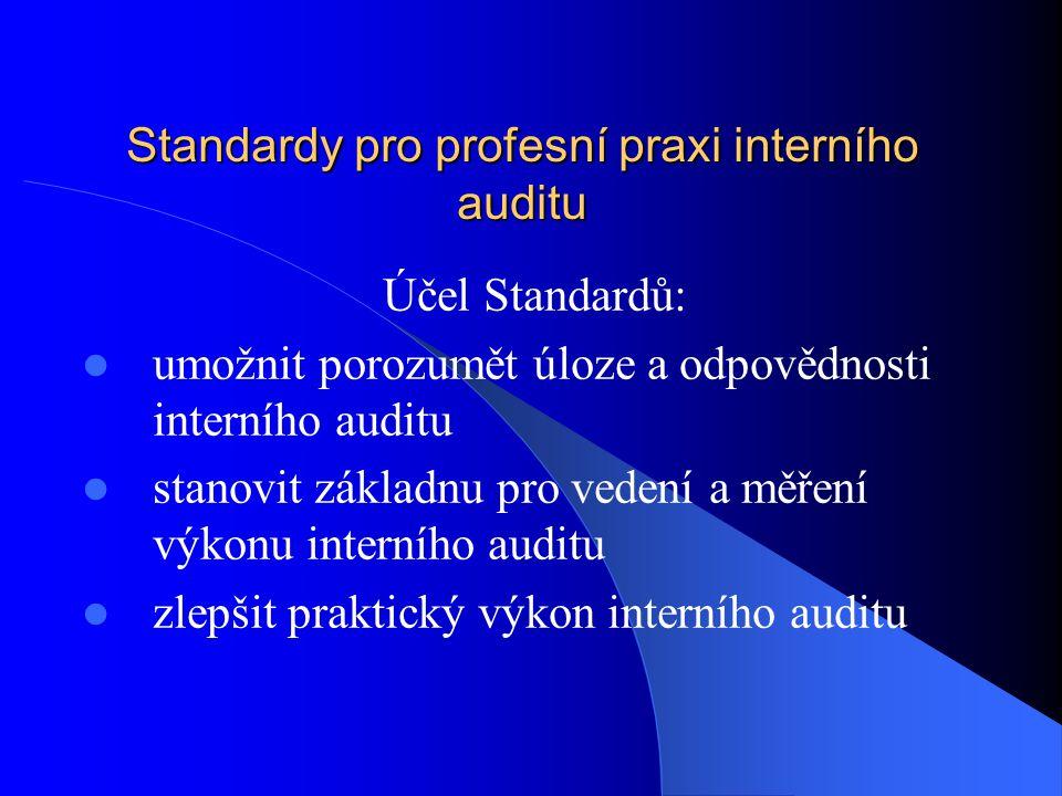 Standardy pro profesní praxi interního auditu Účel Standardů:  umožnit porozumět úloze a odpovědnosti interního auditu  stanovit základnu pro vedení