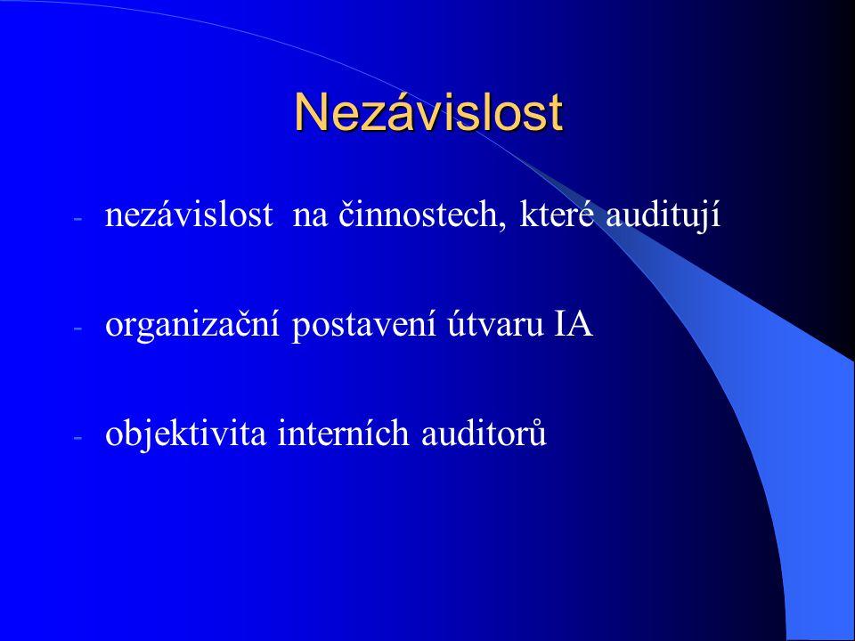 Nezávislost - nezávislost na činnostech, které auditují - organizační postavení útvaru IA - objektivita interních auditorů
