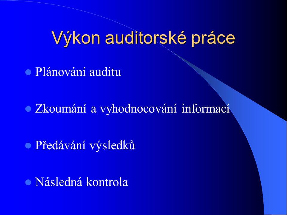 Výkon auditorské práce  Plánování auditu  Zkoumání a vyhodnocování informací  Předávání výsledků  Následná kontrola