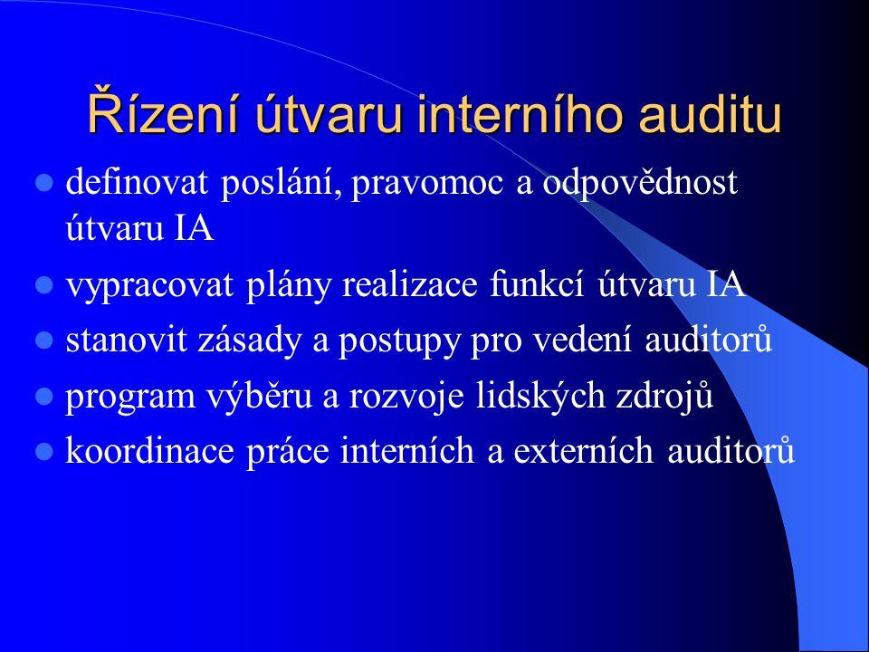 Řízení útvaru interního auditu  definovat poslání, pravomoc a odpovědnost útvaru IA  vypracovat plány realizace funkcí útvaru IA  stanovit zásady a