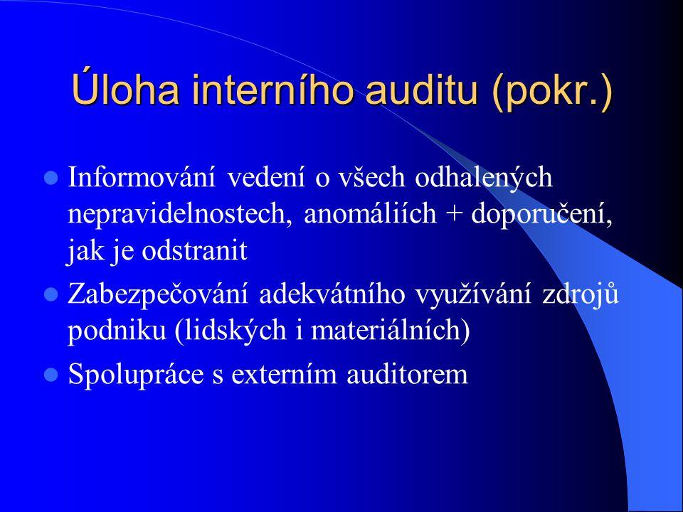 Úloha interního auditu (pokr.)  Informování vedení o všech odhalených nepravidelnostech, anomáliích + doporučení, jak je odstranit  Zabezpečování ad
