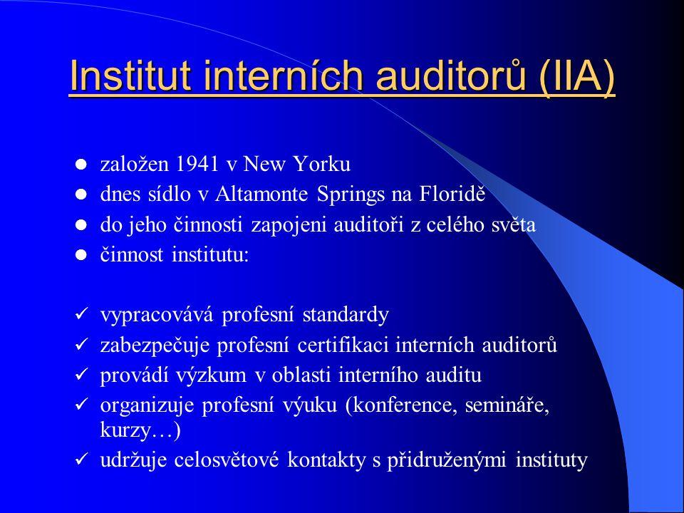 Institut interních auditorů (IIA)  založen 1941 v New Yorku  dnes sídlo v Altamonte Springs na Floridě  do jeho činnosti zapojeni auditoři z celého
