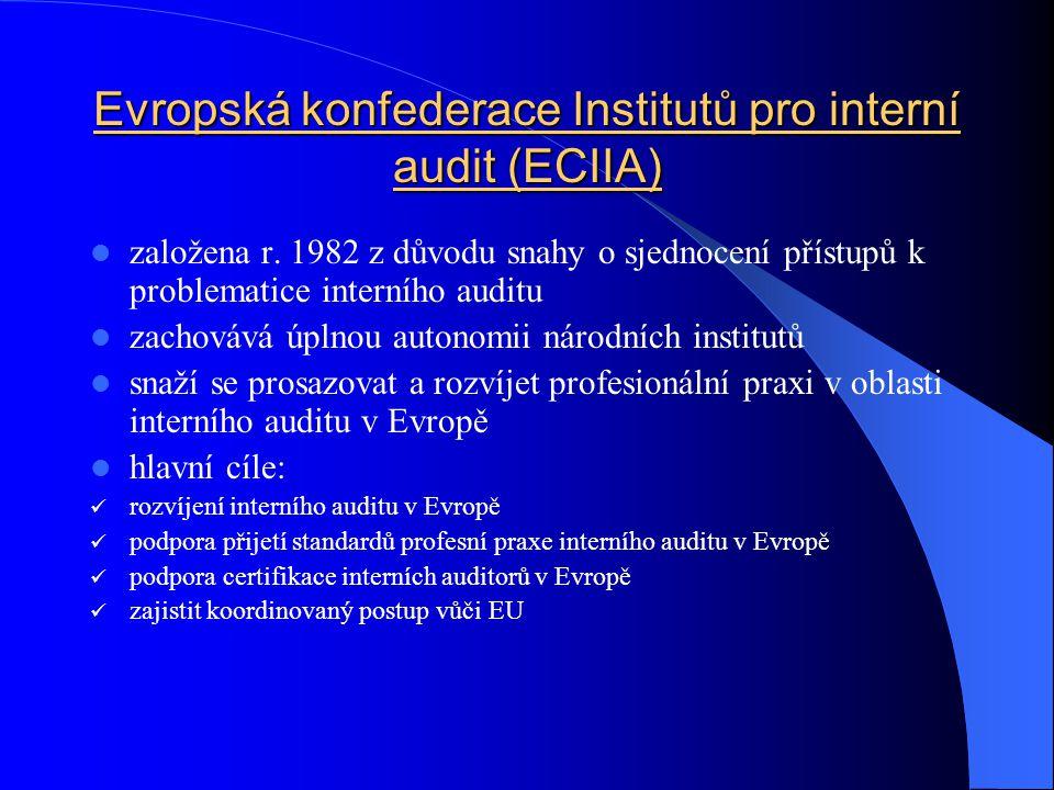 Evropská konfederace Institutů pro interní audit (ECIIA)  založena r. 1982 z důvodu snahy o sjednocení přístupů k problematice interního auditu  zac