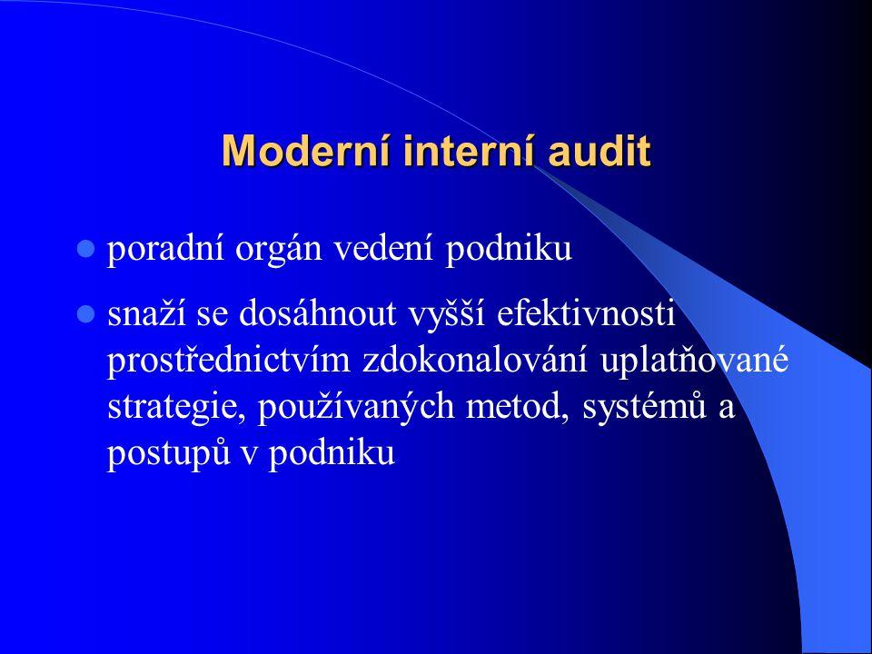 Moderní interní audit  poradní orgán vedení podniku  snaží se dosáhnout vyšší efektivnosti prostřednictvím zdokonalování uplatňované strategie, použ