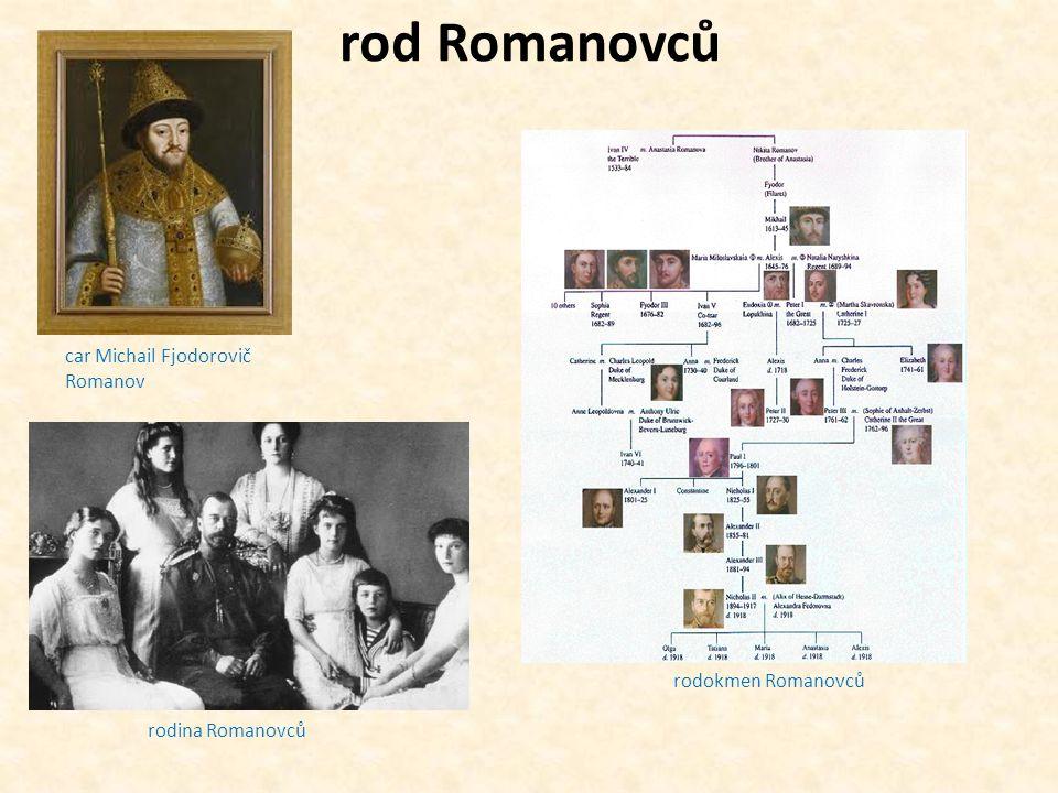 rod Romanovců car Michail Fjodorovič Romanov rodina Romanovců rodokmen Romanovců