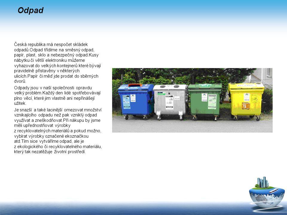 Odpad Česká republika má nespočet skládek odpadů.Odpad třídíme na směsný odpad, papír, plast, sklo a nebezpečný odpad.Kusy nábytku či větší elektroniku můžeme vyhazovat do velkých kontejnerů které bývají pravidelně přistavěny v některých ulicích.Papír či měď jde prodat do sběrných dvorů.