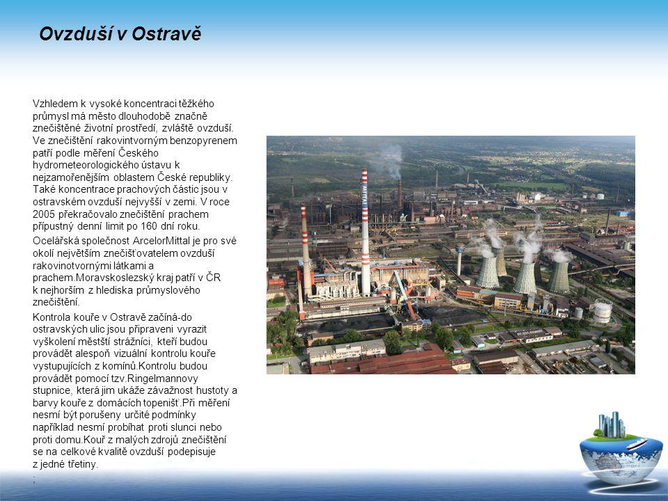 Ovzduší v Ostravě Vzhledem k vysoké koncentraci těžkého průmysl má město dlouhodobě značně znečištěné životní prostředí, zvláště ovzduší.
