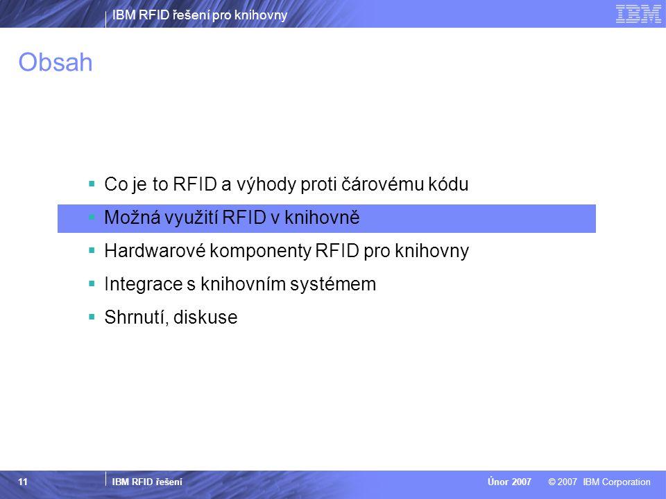 IBM RFID řešení pro knihovny IBM RFID řešení © 2007 IBM CorporationÚnor 2007 11 Obsah  Co je to RFID a výhody proti čárovému kódu  Možná využití RFID v knihovně  Hardwarové komponenty RFID pro knihovny  Integrace s knihovním systémem  Shrnutí, diskuse