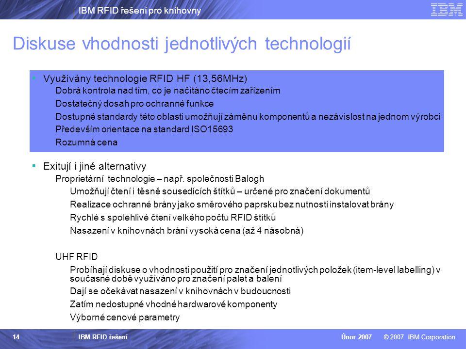 IBM RFID řešení pro knihovny IBM RFID řešení © 2007 IBM CorporationÚnor 2007 14 Diskuse vhodnosti jednotlivých technologií  Využívány technologie RFID HF (13,56MHz) Dobrá kontrola nad tím, co je načítáno čtecím zařízením Dostatečný dosah pro ochranné funkce Dostupné standardy této oblasti umožňují záměnu komponentů a nezávislost na jednom výrobci Především orientace na standard ISO15693 Rozumná cena  Exitují i jiné alternativy Proprietární technologie – např.