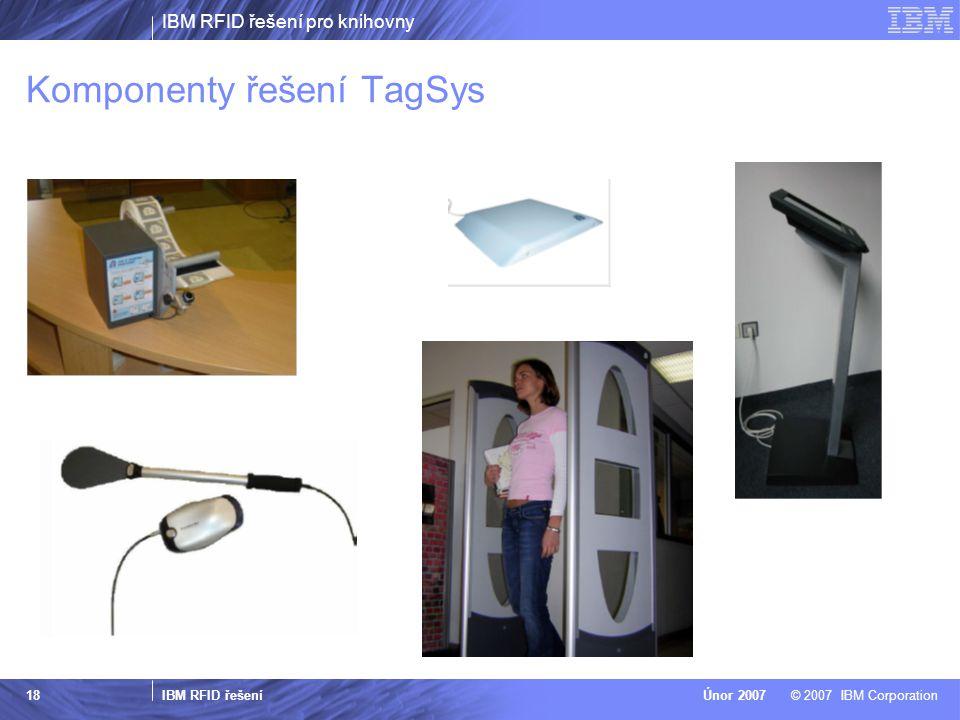 IBM RFID řešení pro knihovny IBM RFID řešení © 2007 IBM CorporationÚnor 2007 18 Komponenty řešení TagSys