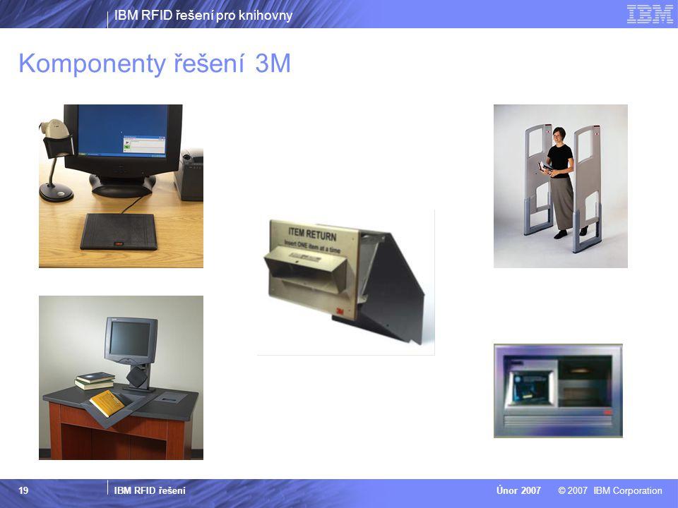 IBM RFID řešení pro knihovny IBM RFID řešení © 2007 IBM CorporationÚnor 2007 19 Komponenty řešení 3M