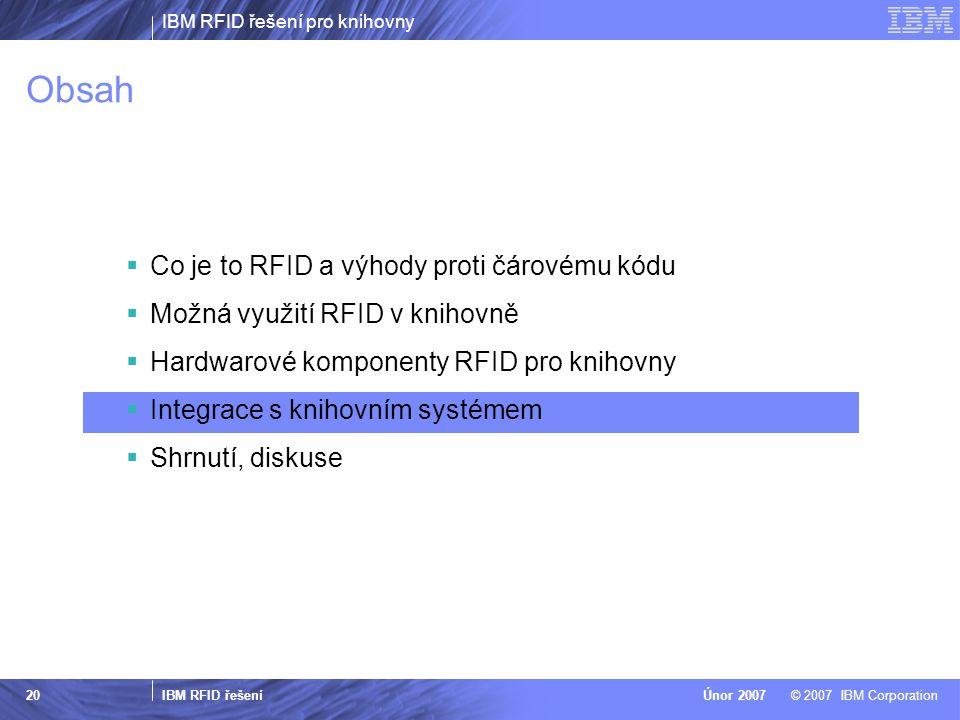 IBM RFID řešení pro knihovny IBM RFID řešení © 2007 IBM CorporationÚnor 2007 20 Obsah  Co je to RFID a výhody proti čárovému kódu  Možná využití RFID v knihovně  Hardwarové komponenty RFID pro knihovny  Integrace s knihovním systémem  Shrnutí, diskuse